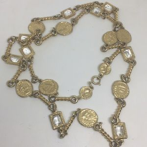 Roman Gold Tone Coin Rhinestone Crystal Necklace